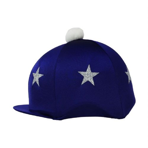 HyFASHION Pom Pom Hat Cover with Glitter Stars in Navy/Silver